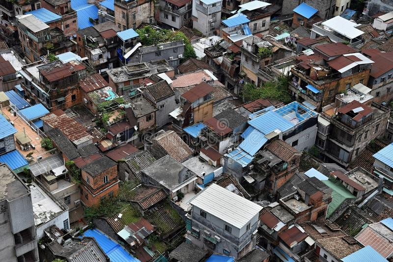 Bird`s eye view of old part Canton City Centre, nowadays a modern metropole in Guangdong province in China. stock photography