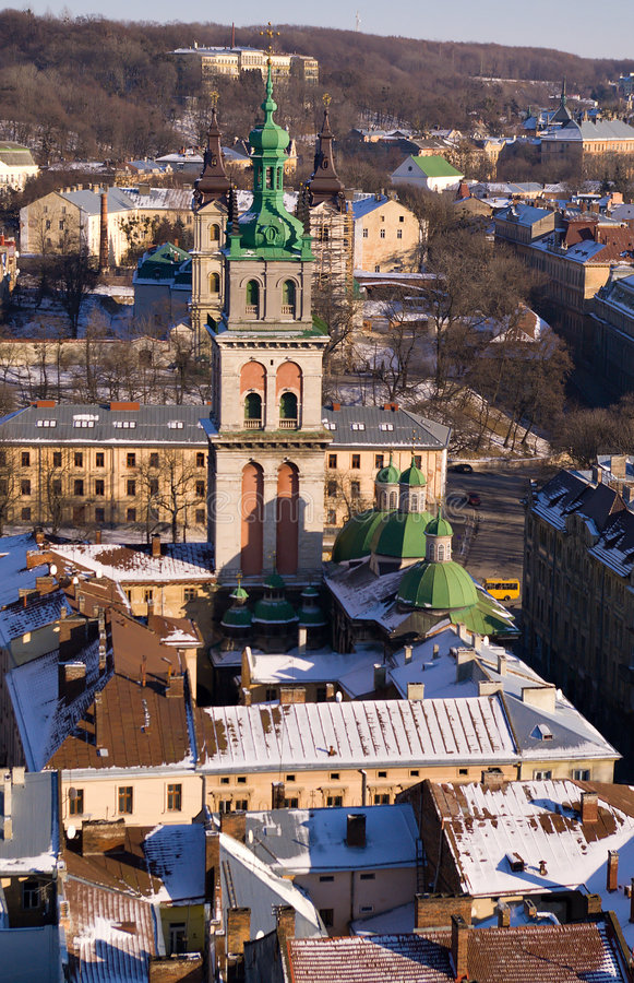 Bird's eye view of old town stock image