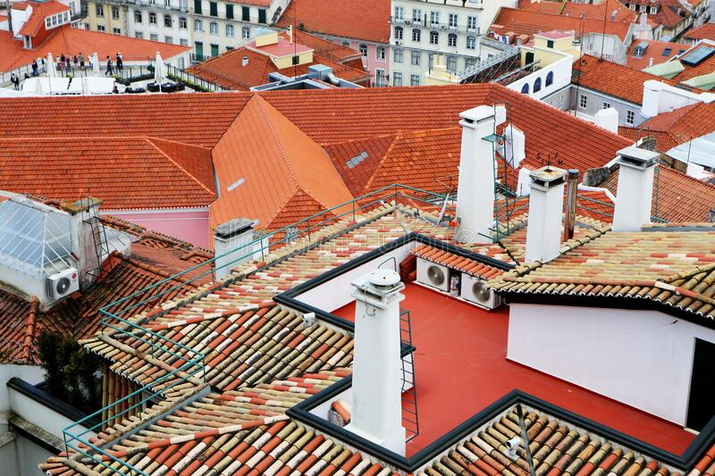 Bird's Eye View of Orange Roofs Houses stock images