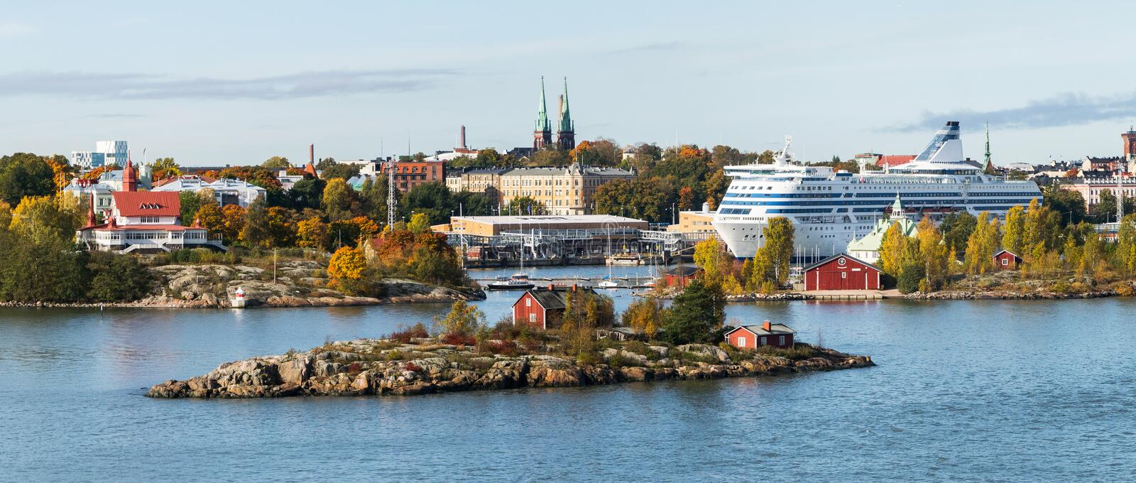 A bird`s-eye view.Panorama of islands and Old Town architecture in Helsinki royalty free stock photography
