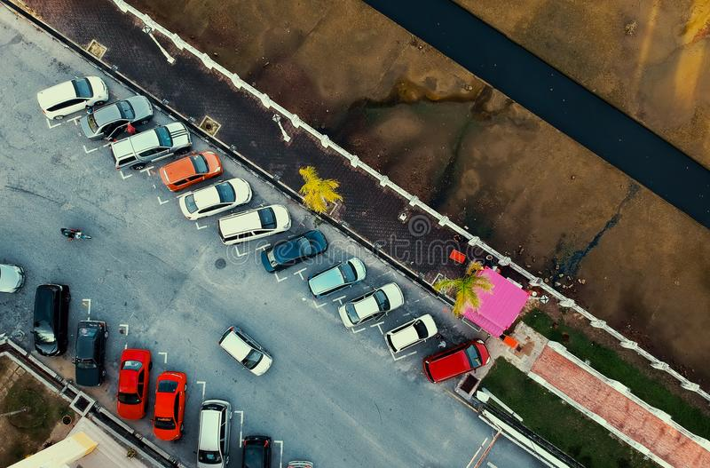 Bird's Eye View of Parked Cars royalty free stock photos