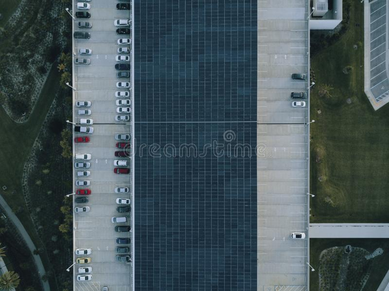 Bird's Eye View of Parking Lot stock image