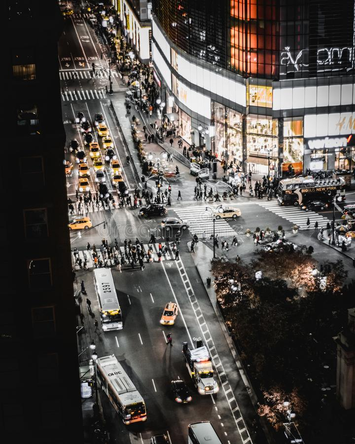 Bird's Eye View Of People and Cars on Road royalty free stock image
