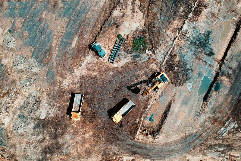 Bird's Eye View Photo Of Heavy Equipment On Construction Site royalty free stock images