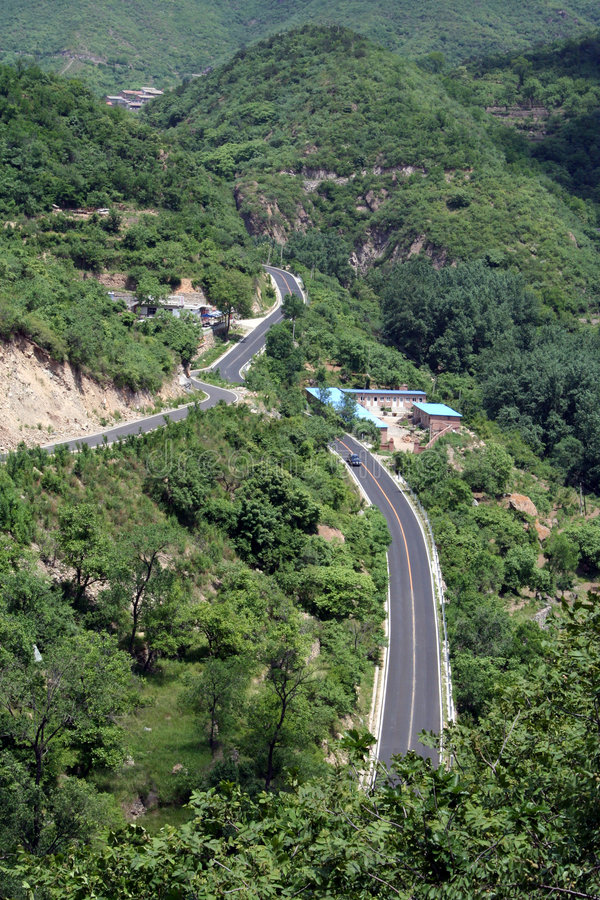 Download Bird's Eye View Of A Road Through The Valley Royalty Free Stock Images - Image: 5465009
