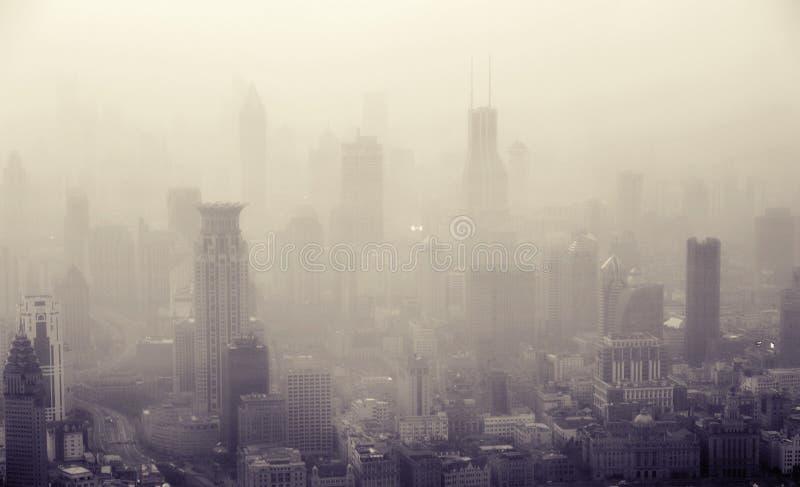Bird's eye view of Shanghai city at dusk royalty free stock photo