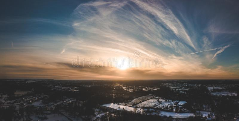 Bird's Eye View of Sky During Dawn stock photo
