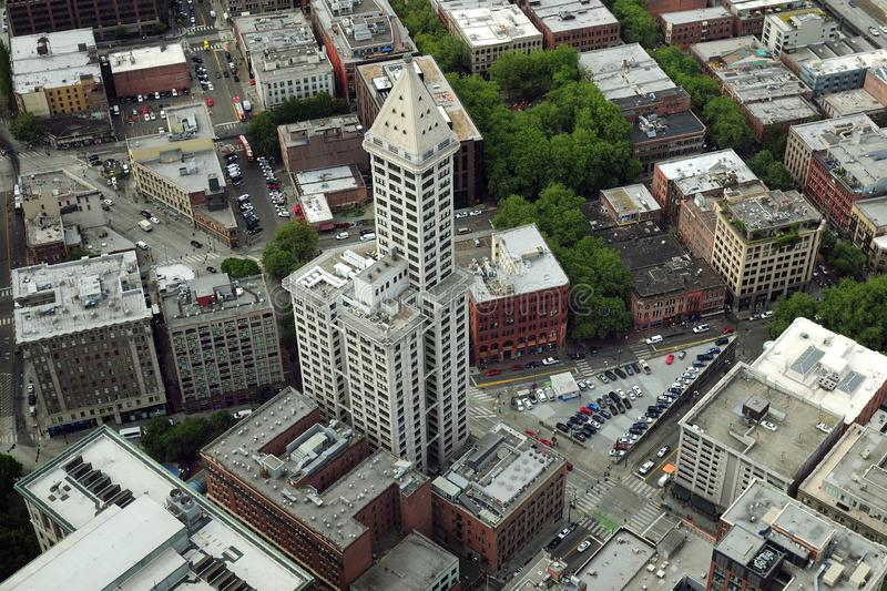 Bird`s Eye View Of Smith Tower Washington USA. Which Has Been The Largest Tower For Many Years royalty free stock photo