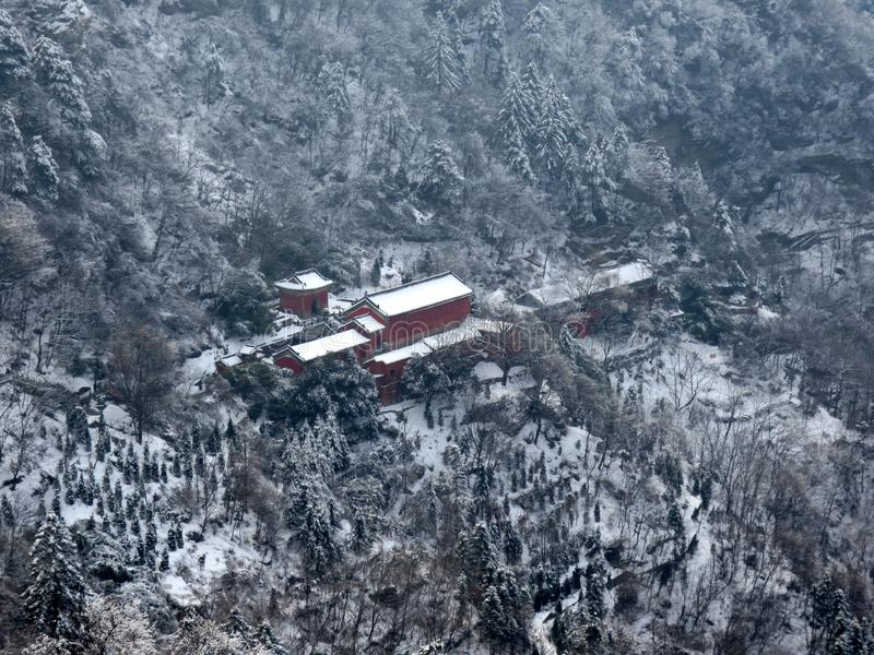 Mountain Taoist temple, winter snow. A bird& x27;s eye view of the Taoist temple in wudang mountain royalty free stock photos