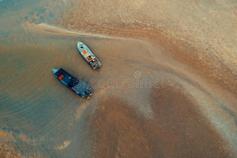 Bird's-eye View of Two Boats on Water Near Shore stock images