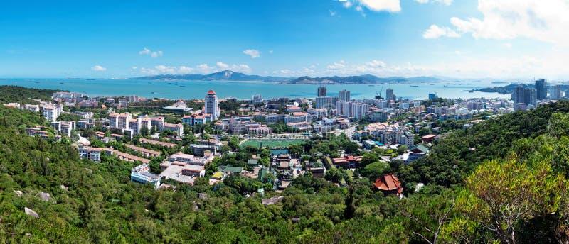 Bird's eye view of Xiamen, China. And the sea stock image