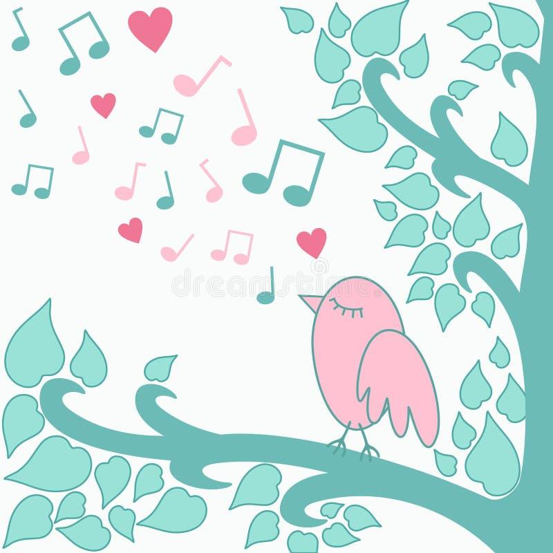 Bird`s-love-song royalty free illustration