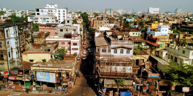 Bird& x27; s oka widok miasta kolkata piękny odgórny widok miasto zdjęcia royalty free