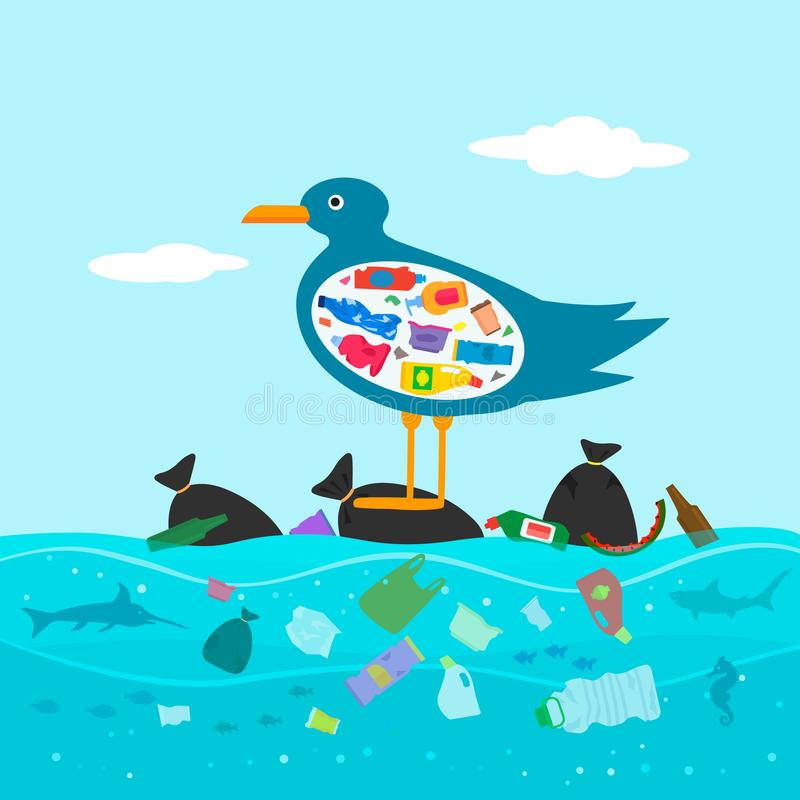 Bird Seagull with a full belly of garbage. The concept of warming the world and pollution of the seas and oceans. illustration royalty free illustration