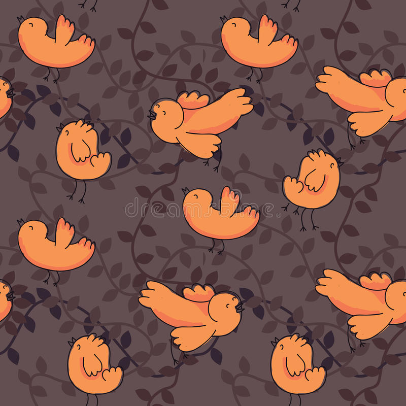 Download Bird seamless pattern stock vector. Image of funny, orange - 21826280