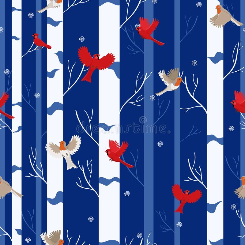 Bird seamless pattern red cardinal and robin in the winter forest. Vector royalty free illustration