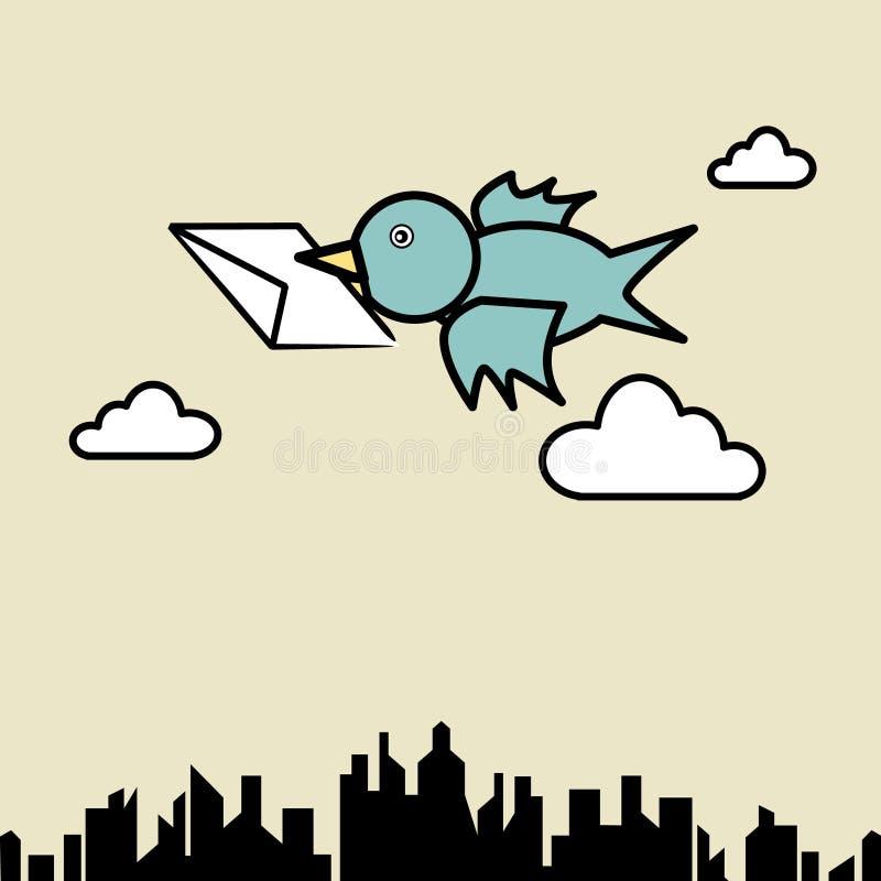 Bird sending letter. Illustration of bird sending letter fly over the city royalty free illustration