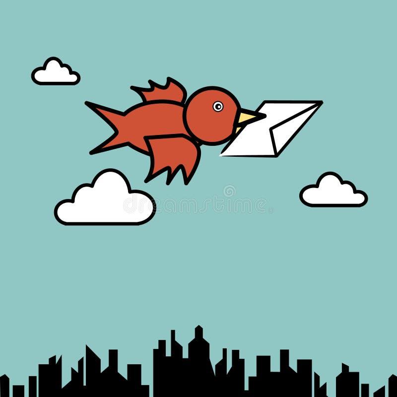 Bird sending letter. Illustration of bird sending letter fly over the city vector illustration