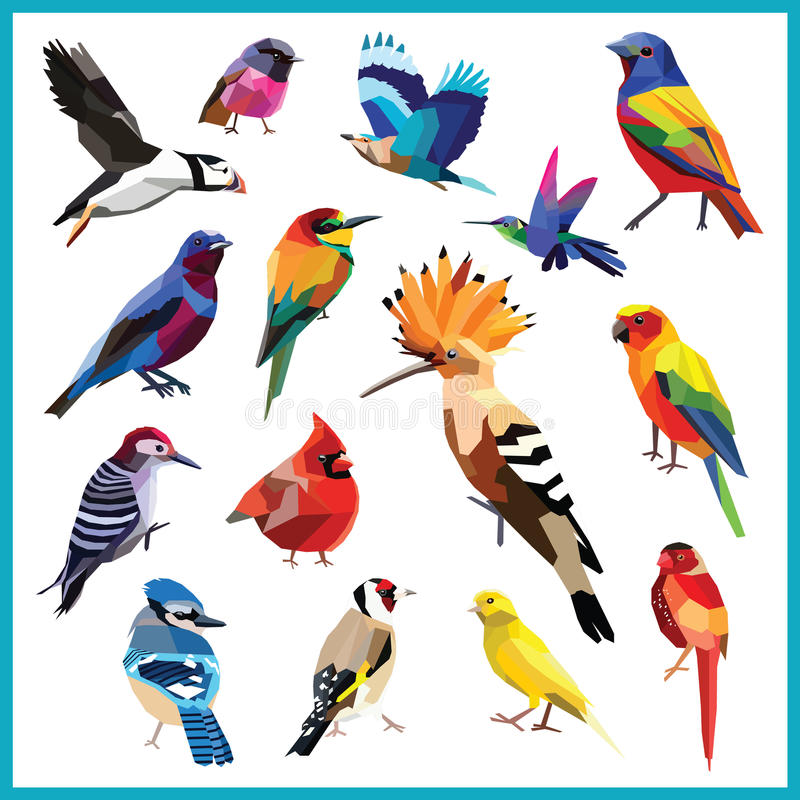Bird set. Birds-set of 15 colorful birds low poly design on white background.Bee eater,canary,blue jay,cardinal,cotinga,finch,hoopoe,hummingbird, indian roller vector illustration