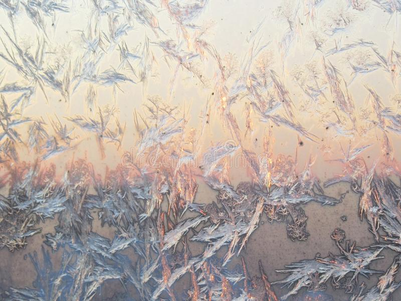 Bird shape frost ice crystals formations on a window glass. Frostwork pattern on morning light pink sunny sky background stock photo