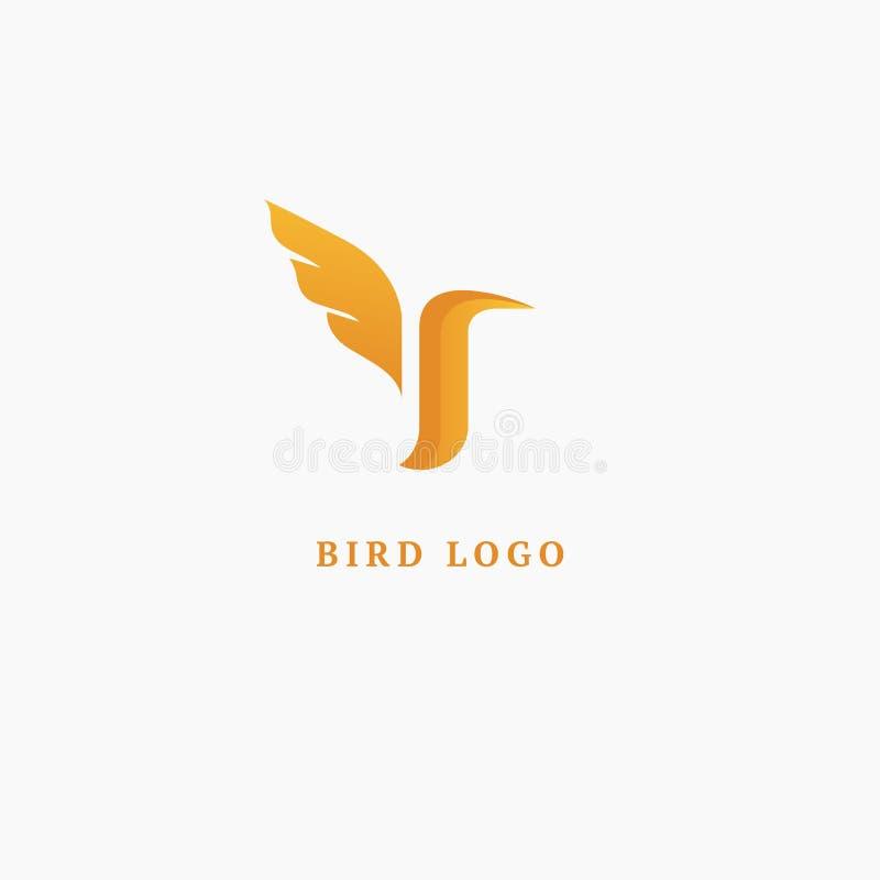 Bird silhouette logo. Vector abstract minimalistic illustration flying fowl. Pigeon icon. Zoo, pet shop, farm, bird feather, wild vector illustration