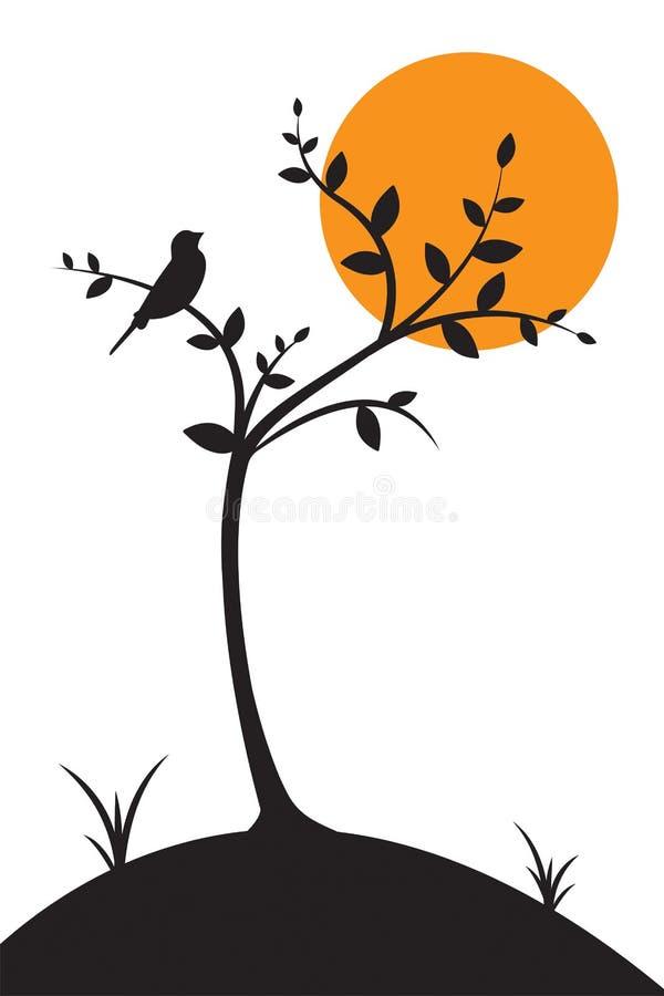 Bird silhouette on tree on sunset or sunrise vector, illustration, Wall Decals, Wall art work. Bird on branch Design stock illustration