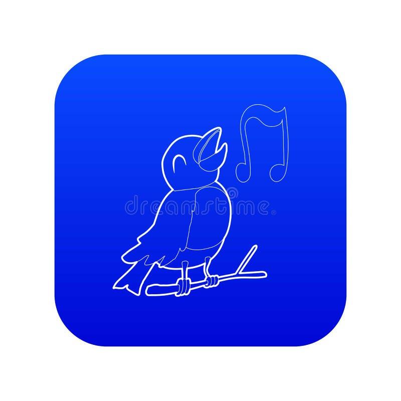 Bird singing icon blue vector vector illustration