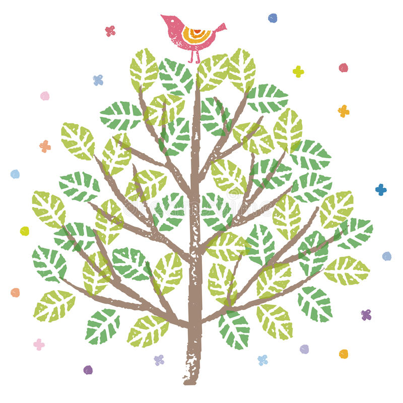 Bird singing on top of a green tree royalty free illustration