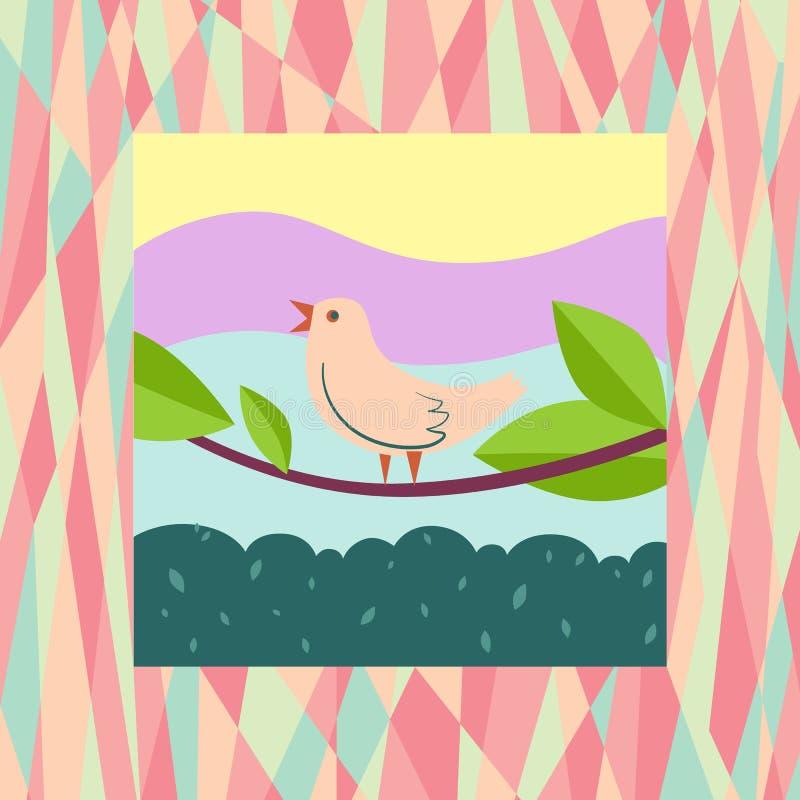 Bird singing on a tree royalty free illustration