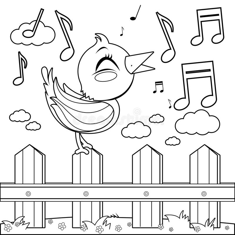 Bird sitting on a fence and singing. Coloring book page royalty free illustration