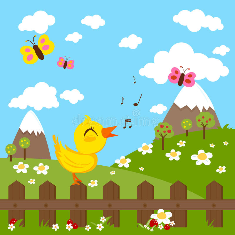 Bird sitting on a fence and singing in the countryside, green meadow, hills and flowers royalty free illustration