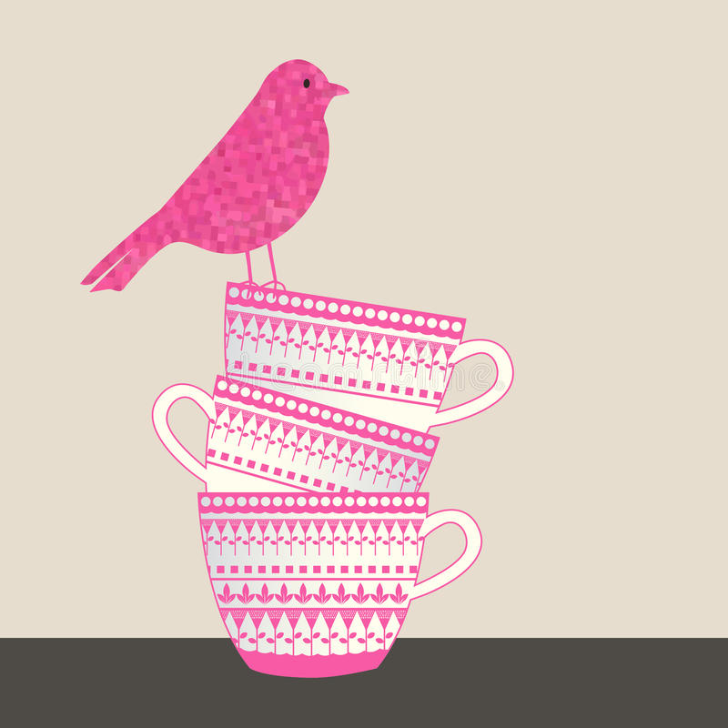 Free Bird Sitting On Stack Of Cups Royalty Free Stock Photos - 62499938