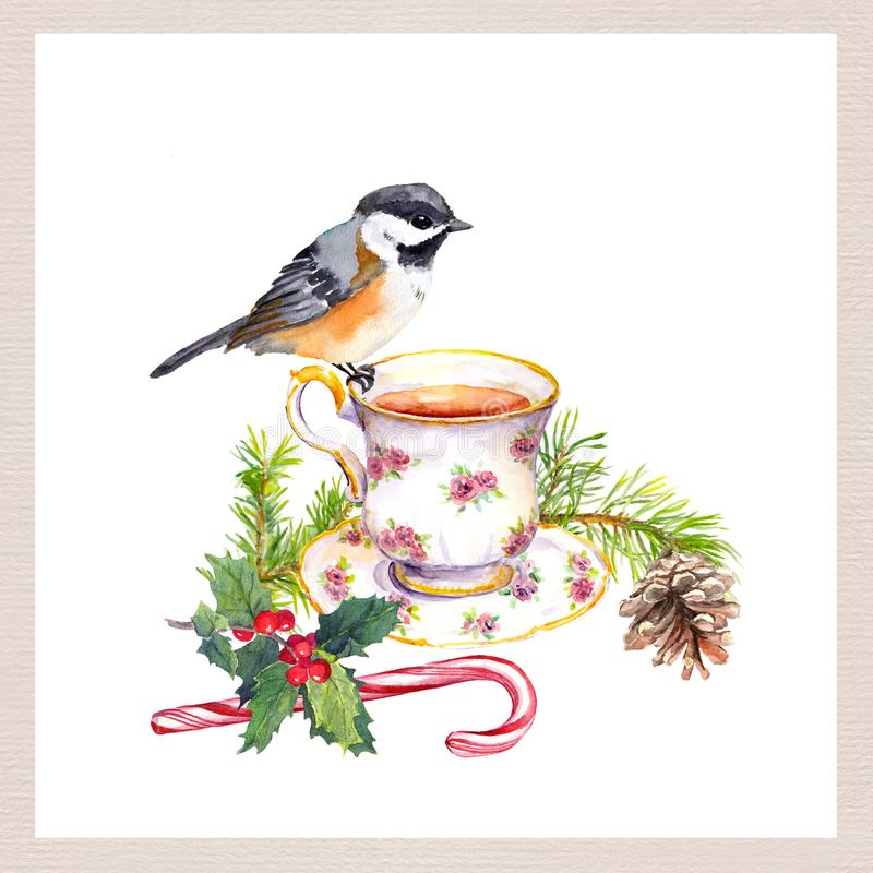 Bird, tea cup, christmas tree branch with cone, candy cane. Tea party card. Watercolor for teatime vector illustration