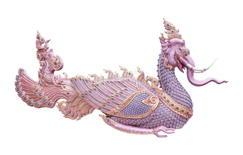 Bird in Thailand  fairy tale isolated on white background Hastilinga bird. Elephant bird sculpture royalty free stock photos