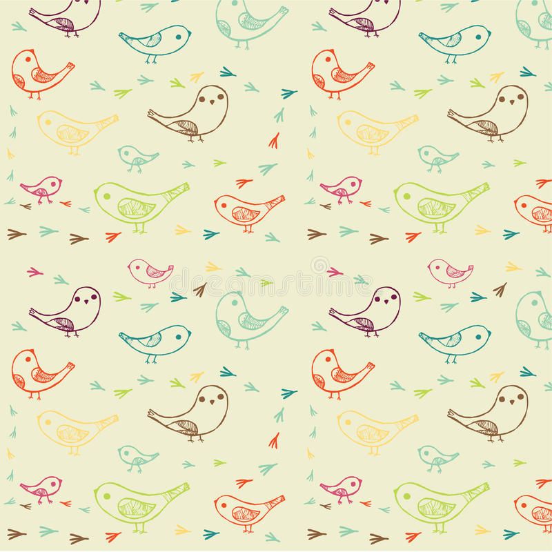 Bird and tracks pattern royalty free illustration