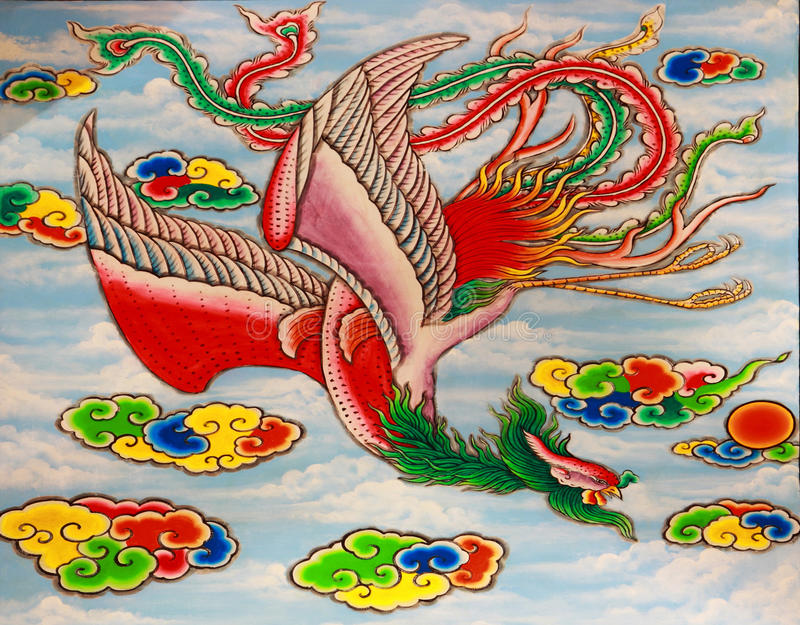 Bird in traditional chinese art painting style stock image