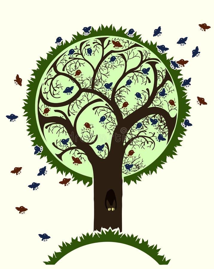 Bird tree vector illustration