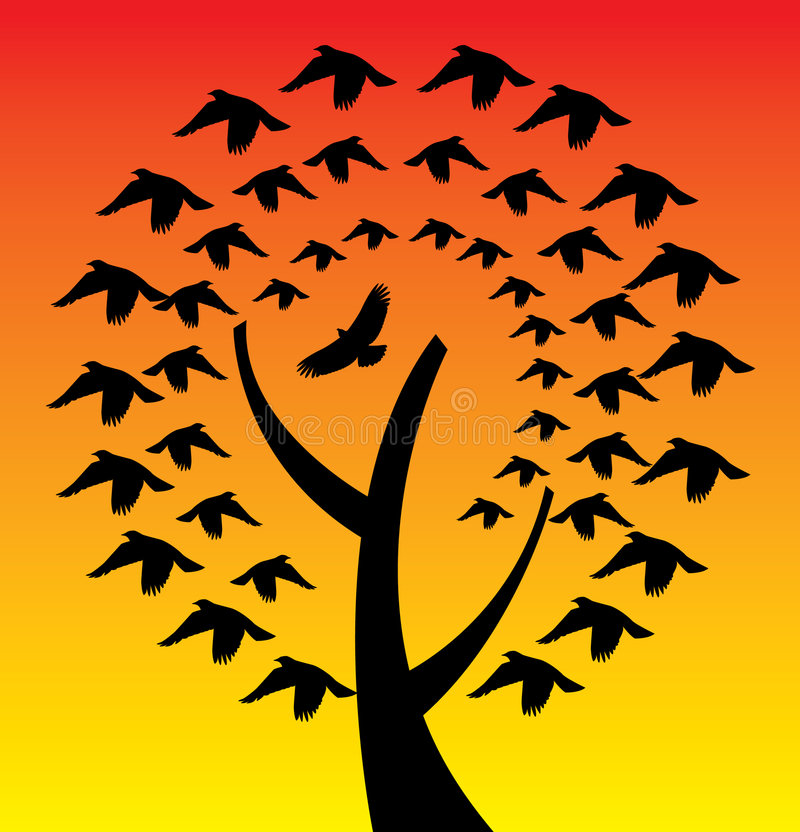 Download Bird tree stock vector. Illustration of silhouetted, silhouettes - 5013612