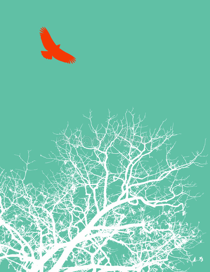 Bird and tree stock illustration