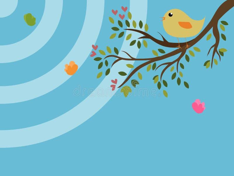Bird on a tree royalty free illustration
