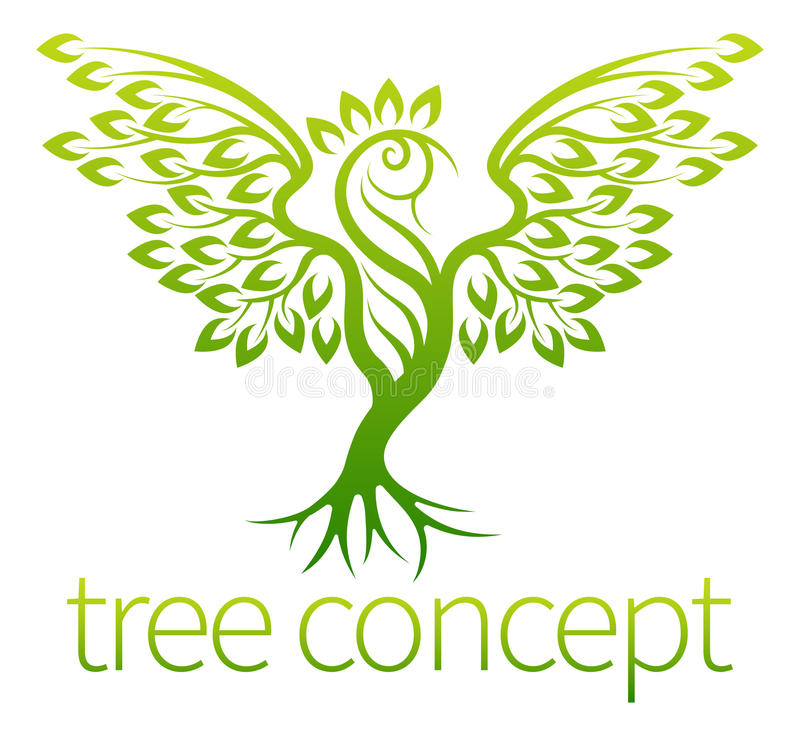 Bird Tree Concept. Of an icon of a tree growing in the shape of a bird or phoenix royalty free illustration