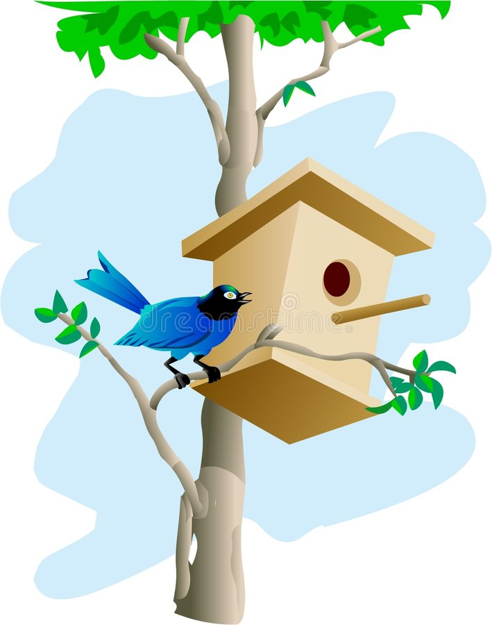 Download Bird and tree house stock illustration. Image of generated - 219741