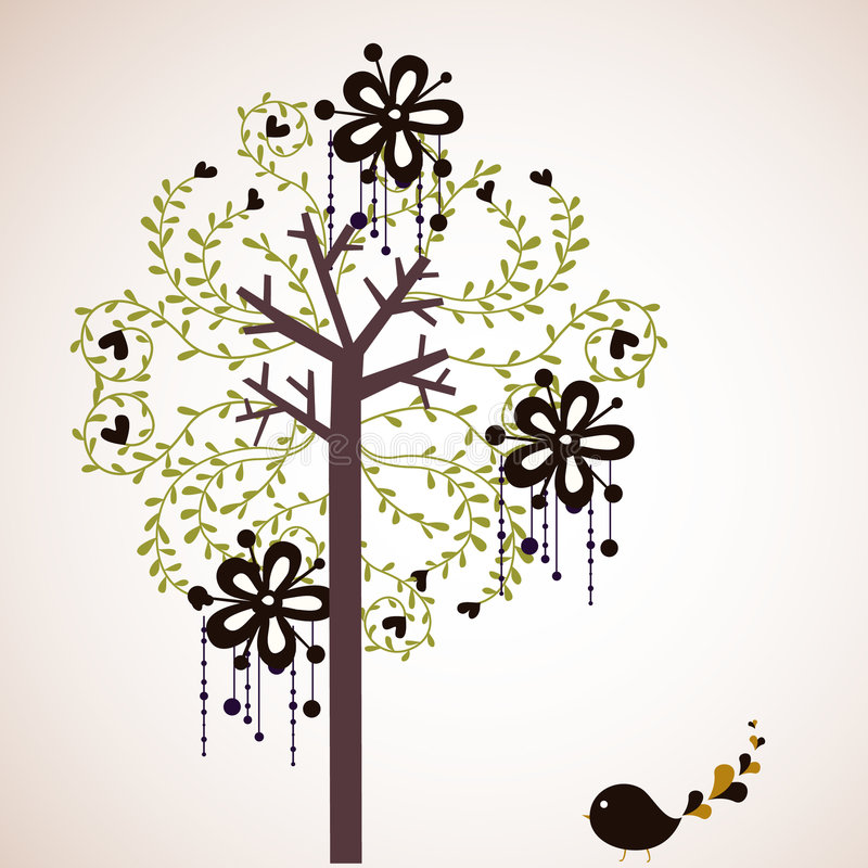 Download Bird and tree wallpaper stock illustration. Illustration of clip - 9013887