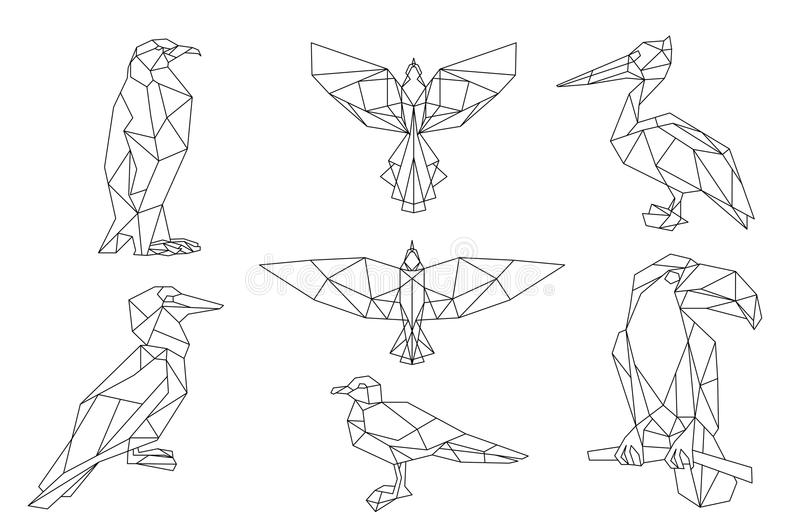 Bird triangular icon set. Penguin, toucan, seagull, pelican. Bird triangular icon set, geometric trendy line design. Vector illustration for tattoo or coloring royalty free illustration