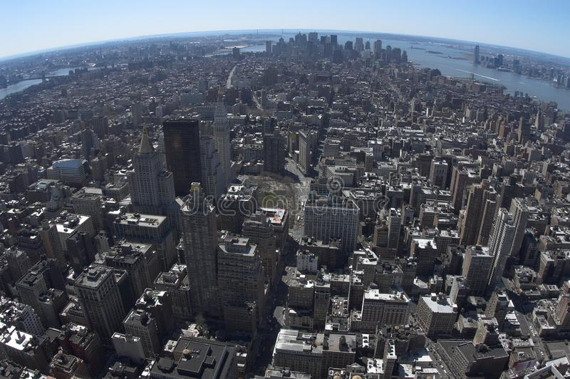 Bird view of downtown Manhattan royalty free stock photography