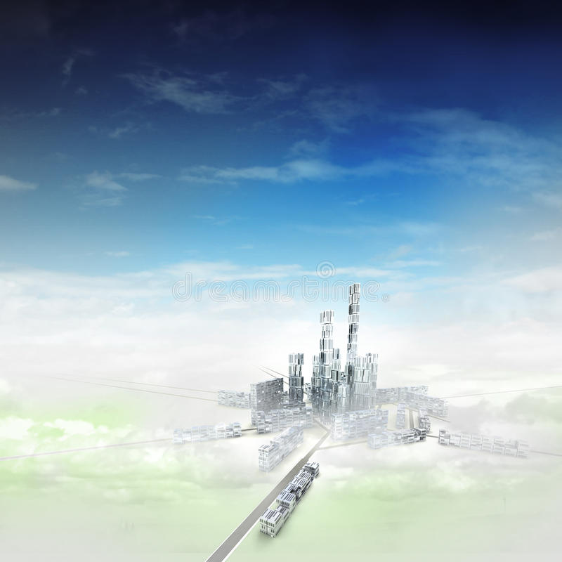 Bird view focused to modern city of future in mist vector illustration