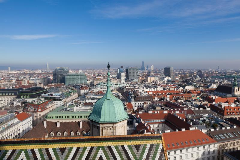 A bird view from highest tower of St.Stephan cathedral in Vienna, Austria royalty free stock images