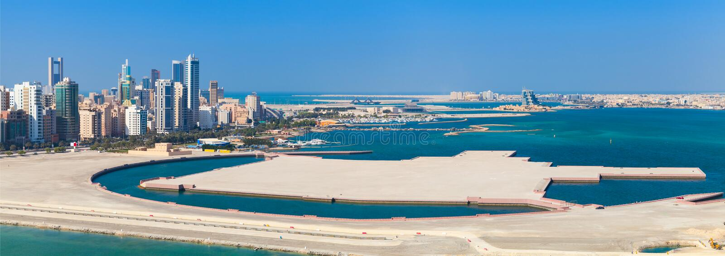 Bird view panorama of Manama city, Bahrain. Skyline with modern skyscrapers standing on the coast of Persian Gulf stock image