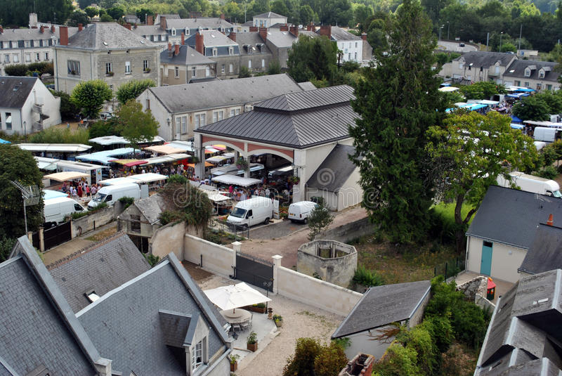 Bird View Of Small French Town - Market Royalty Free Stock Photos