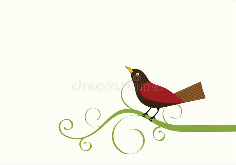 Bird on a vine. Bird sitting on vine looking upward copyspace for additional input royalty free illustration